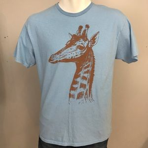 Blue Giraffe Graphic T Shirt Large Retro